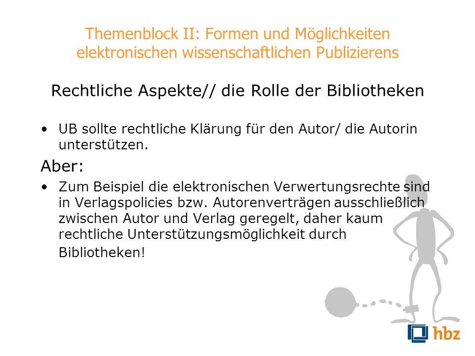 Themenblock II: Formen und Möglichkeiten elektronischen wissenschaftlichen Publizierens Rechtliche Aspekte// die Rolle der Bibliotheken