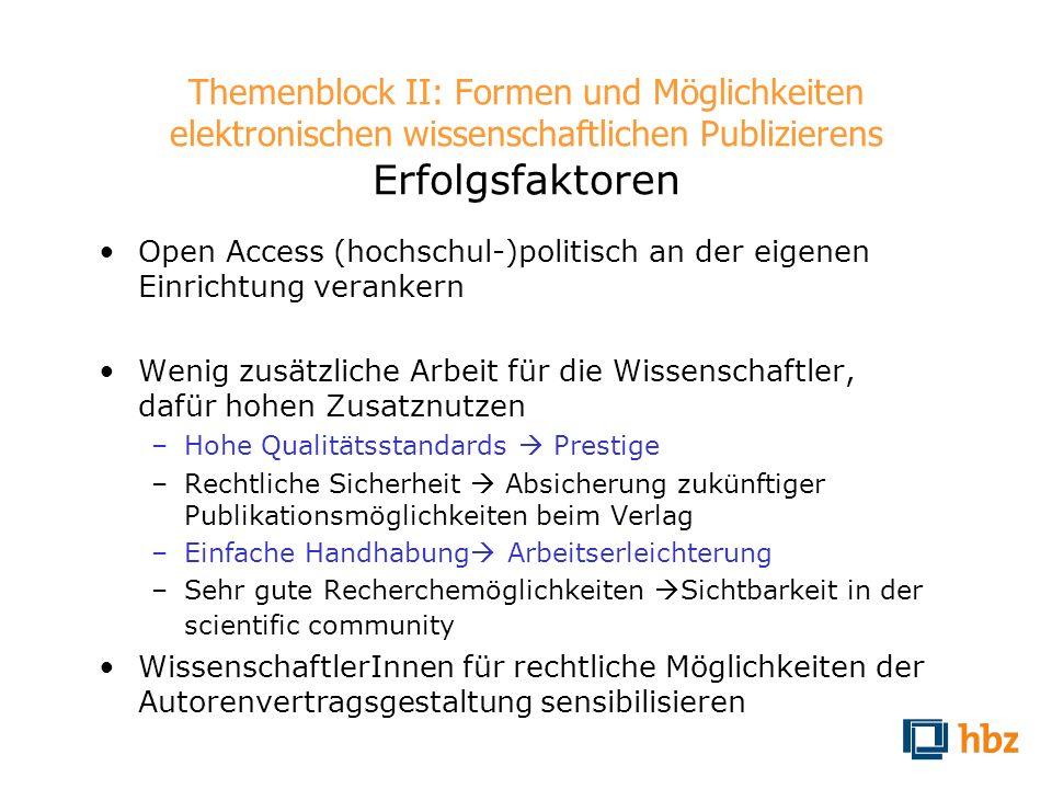 Themenblock II: Formen und Möglichkeiten elektronischen wissenschaftlichen Publizierens Erfolgsfaktoren