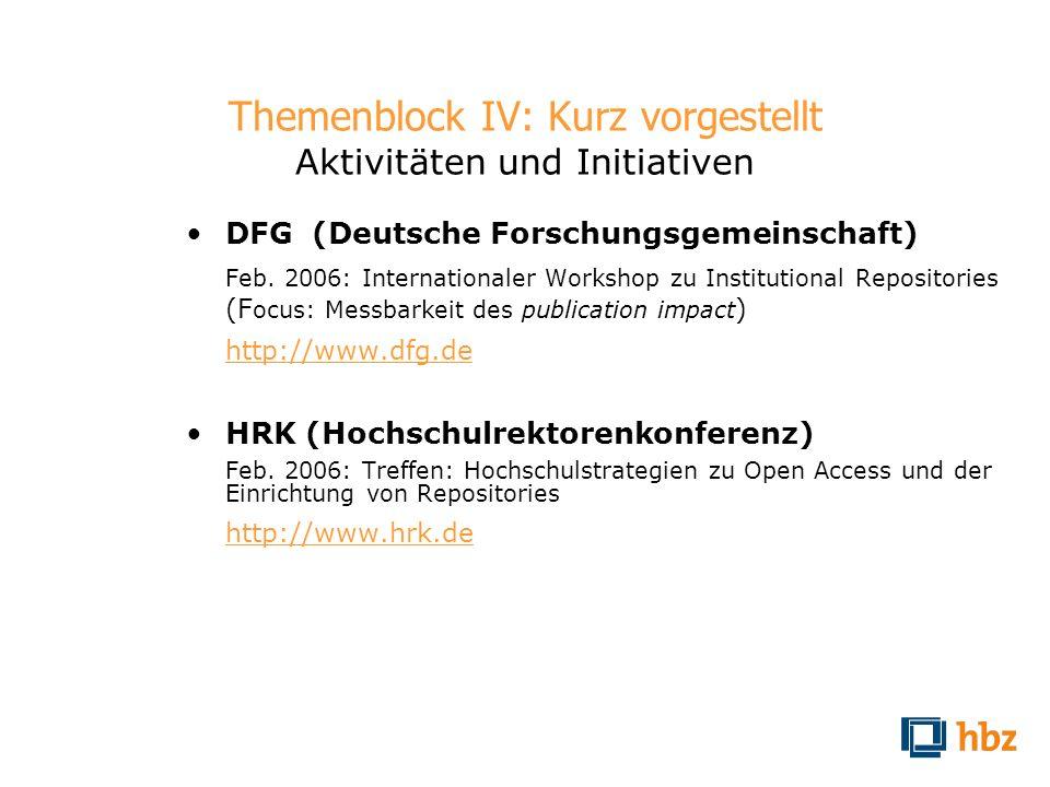 Themenblock IV: Kurz vorgestellt Aktivitäten und Initiativen