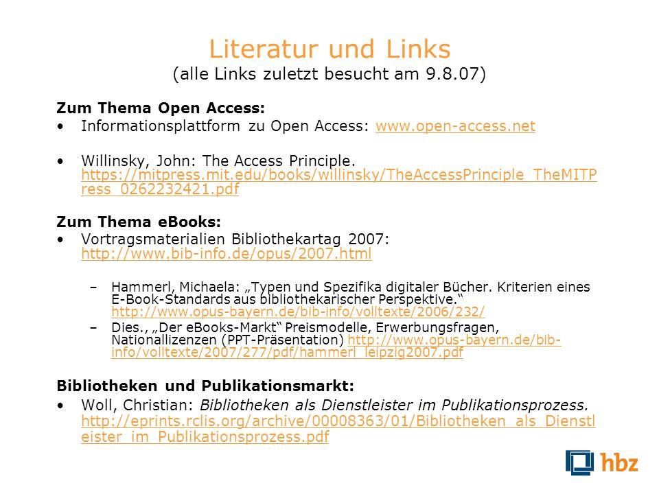 Literatur und Links (alle Links zuletzt besucht am 9.8.07)