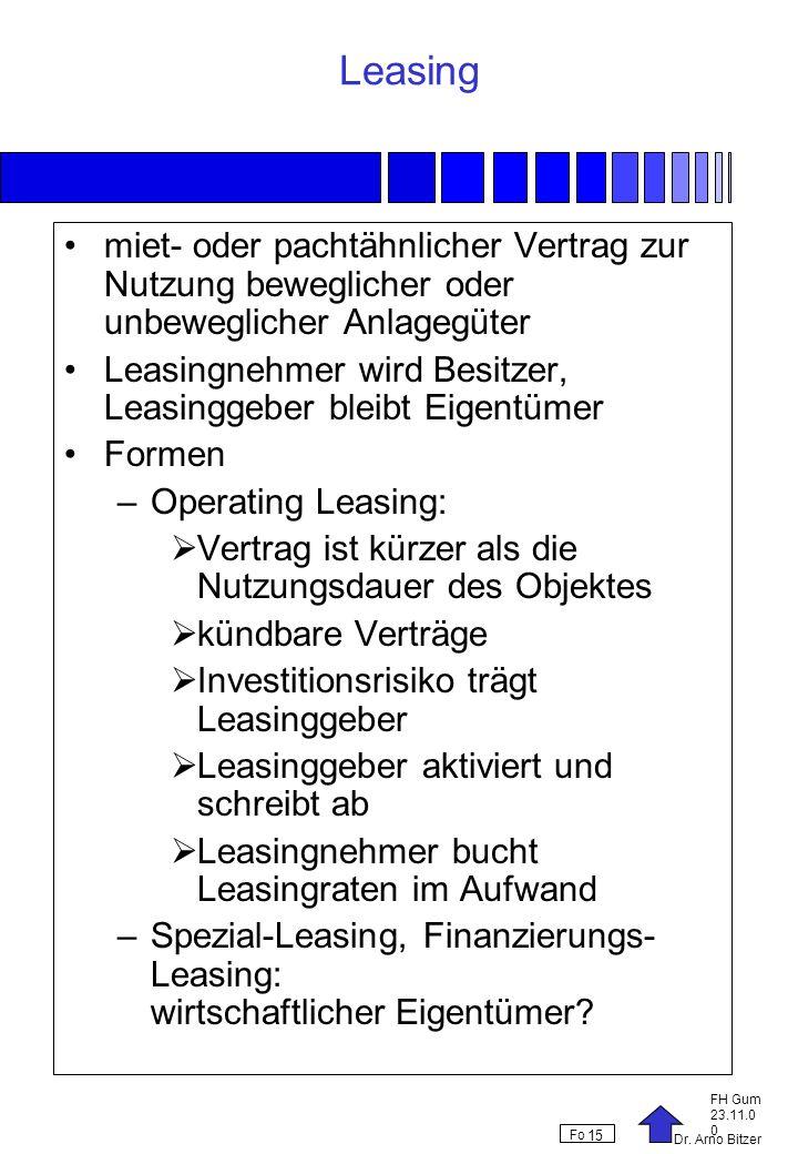 Leasing miet- oder pachtähnlicher Vertrag zur Nutzung beweglicher oder unbeweglicher Anlagegüter.