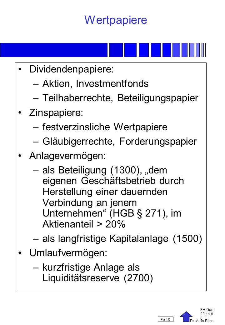 Wertpapiere Dividendenpapiere: Aktien, Investmentfonds