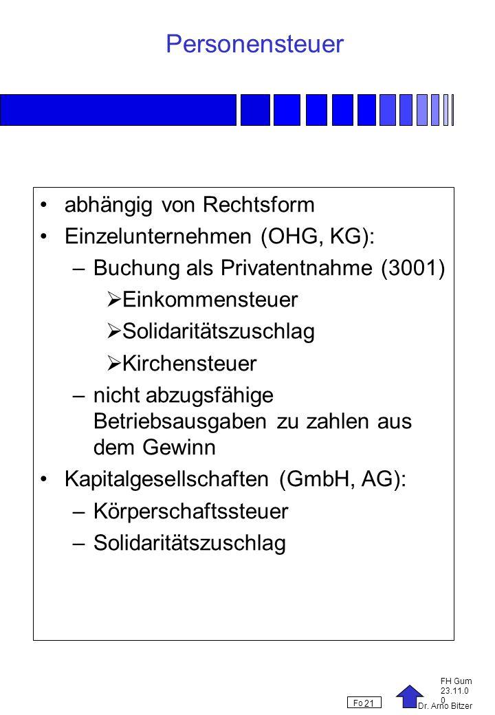 Personensteuer abhängig von Rechtsform Einzelunternehmen (OHG, KG):