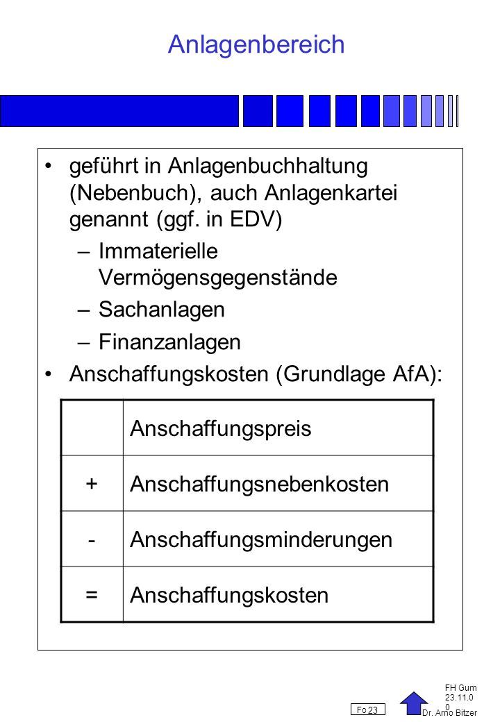 Anlagenbereich geführt in Anlagenbuchhaltung (Nebenbuch), auch Anlagenkartei genannt (ggf. in EDV) Immaterielle Vermögensgegenstände.