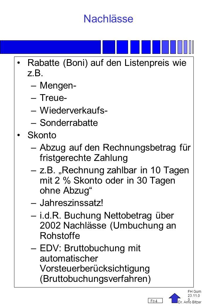 Nachlässe Rabatte (Boni) auf den Listenpreis wie z.B. Mengen- Treue-