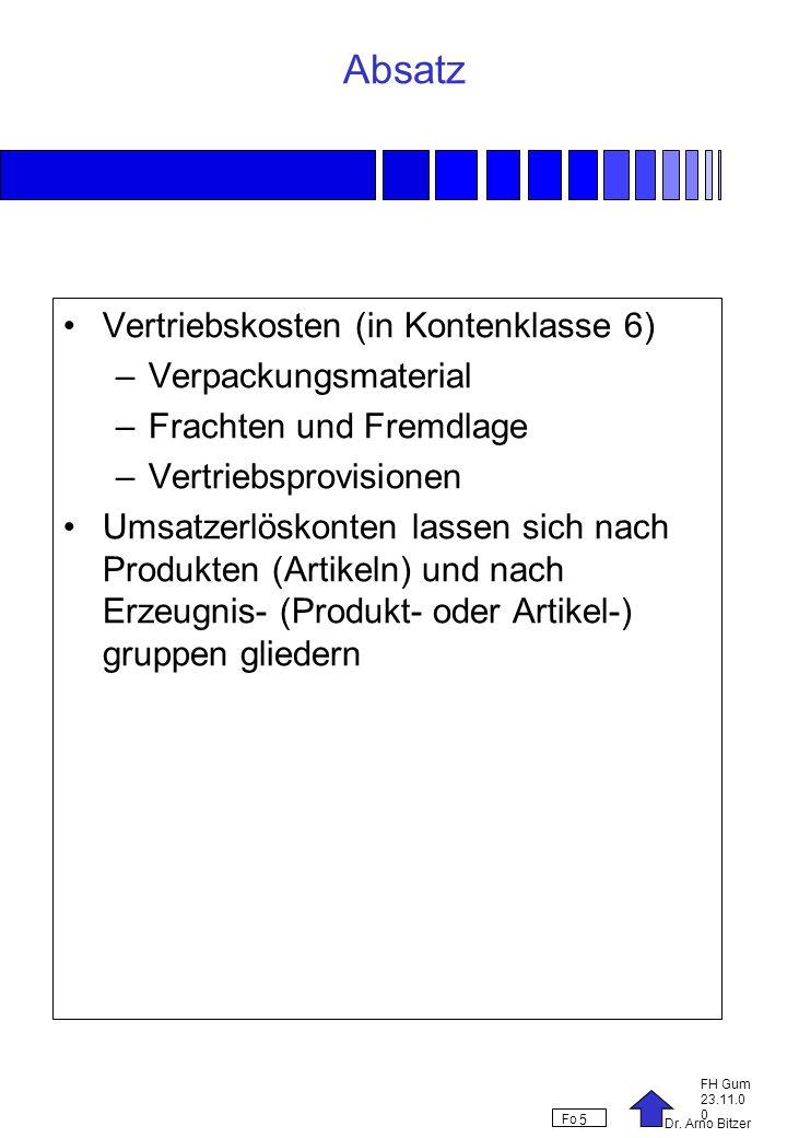 Absatz Vertriebskosten (in Kontenklasse 6) Verpackungsmaterial