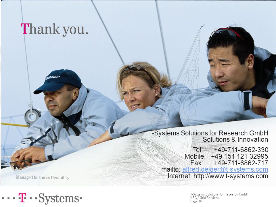 Thank you. T-Systems Solutions for Research GmbH Solutions & Innovation.