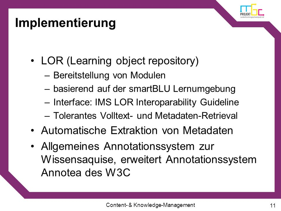 Implementierung LOR (Learning object repository)