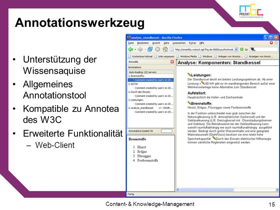 Annotationswerkzeug Unterstützung der Wissensaquise