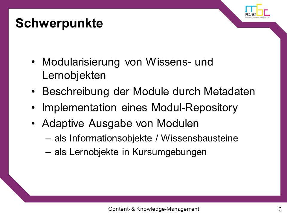 Schwerpunkte Modularisierung von Wissens- und Lernobjekten