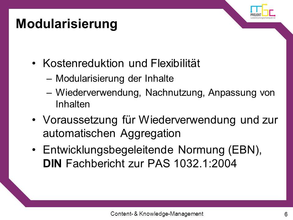 Modularisierung Kostenreduktion und Flexibilität
