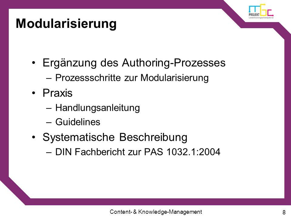 Modularisierung Ergänzung des Authoring-Prozesses Praxis