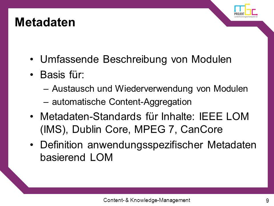 Metadaten Umfassende Beschreibung von Modulen Basis für: