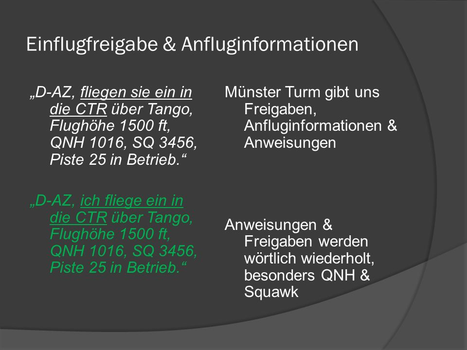 Einflugfreigabe & Anfluginformationen