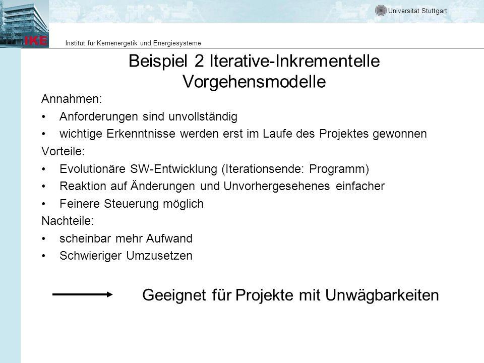 Beispiel 2 Iterative-Inkrementelle Vorgehensmodelle