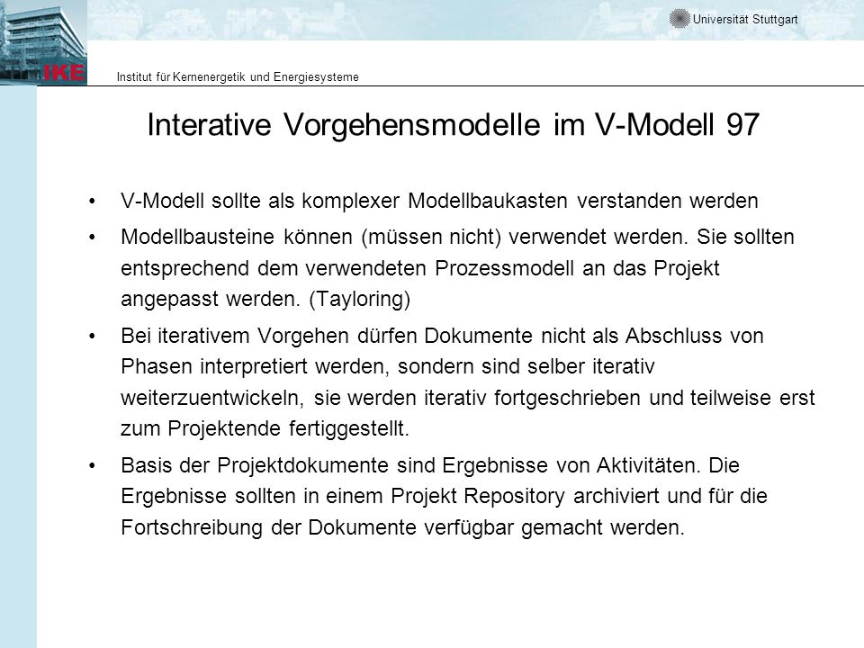 Interative Vorgehensmodelle im V-Modell 97
