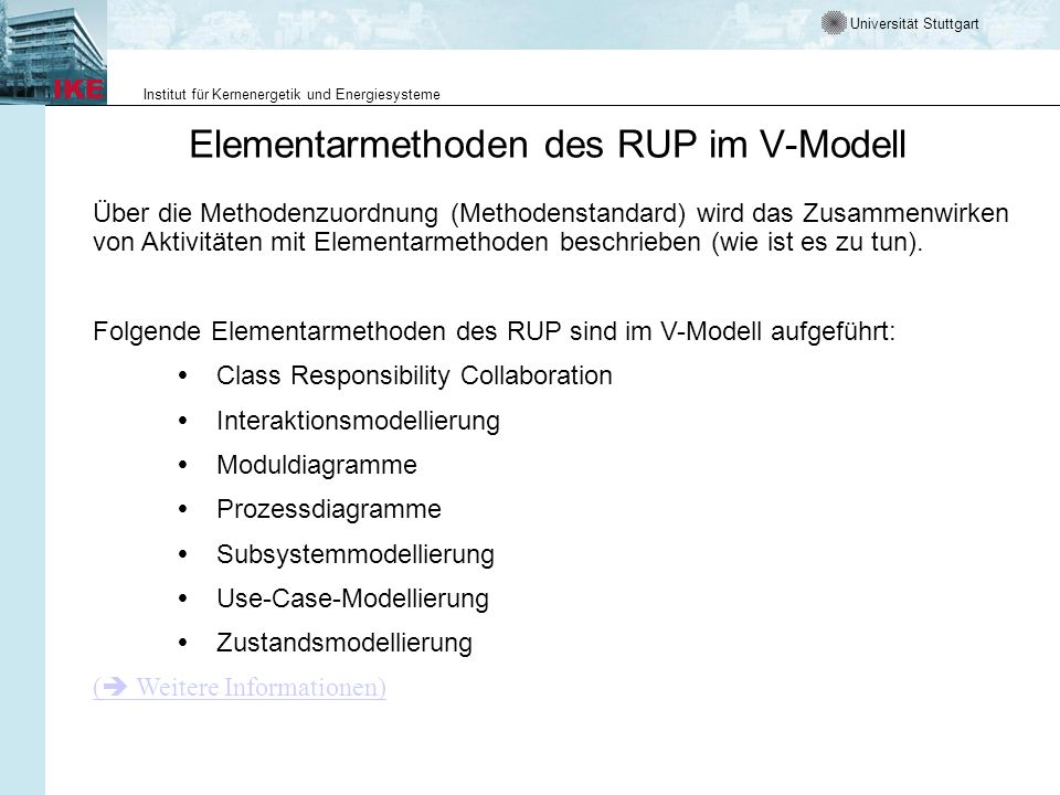 Elementarmethoden des RUP im V-Modell