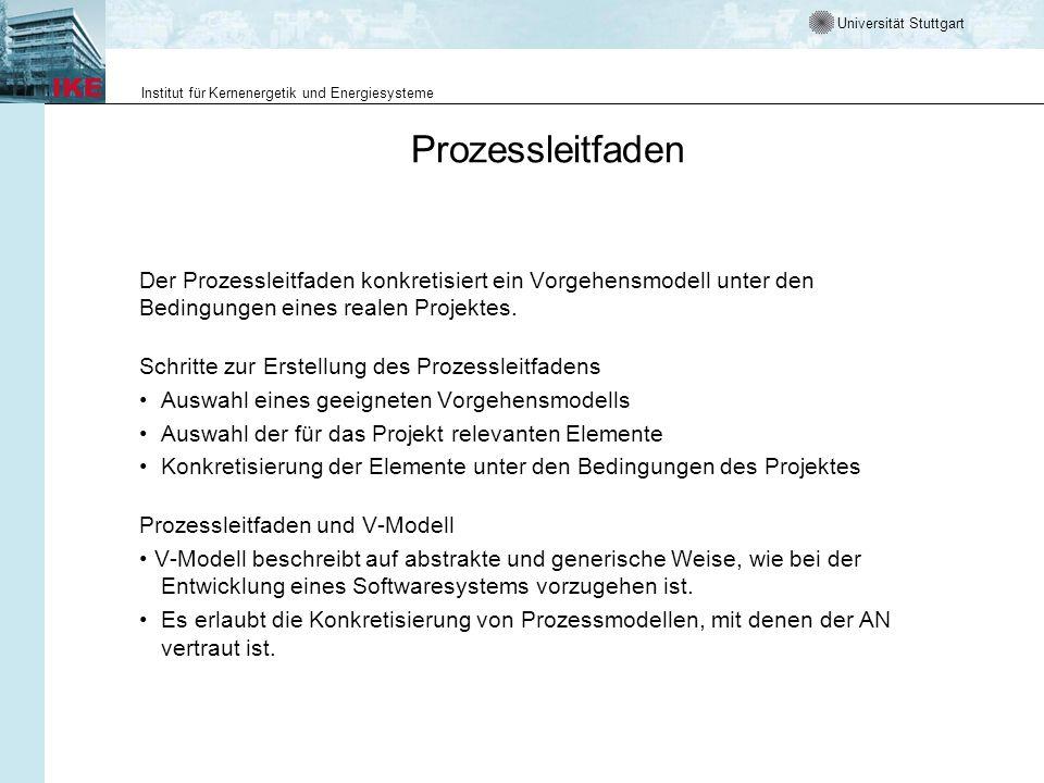Prozessleitfaden Der Prozessleitfaden konkretisiert ein Vorgehensmodell unter den Bedingungen eines realen Projektes.