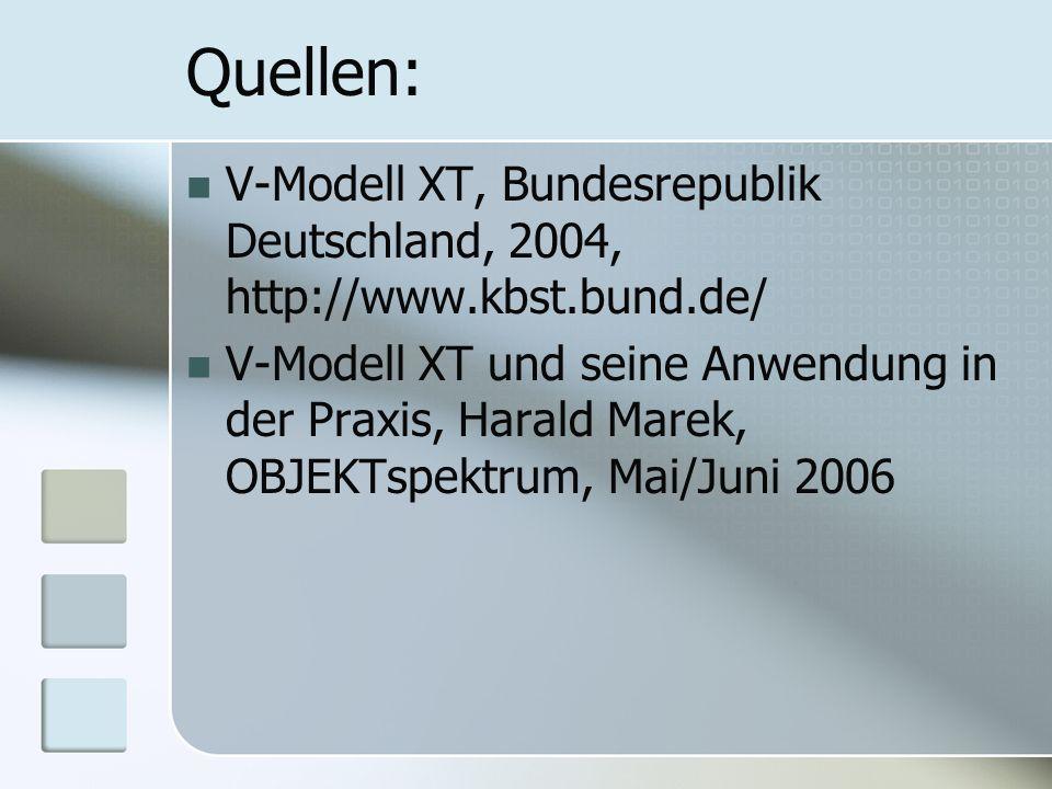 Quellen: V-Modell XT, Bundesrepublik Deutschland, 2004, http://www.kbst.bund.de/