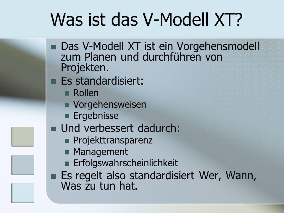 Was ist das V-Modell XT Das V-Modell XT ist ein Vorgehensmodell zum Planen und durchführen von Projekten.
