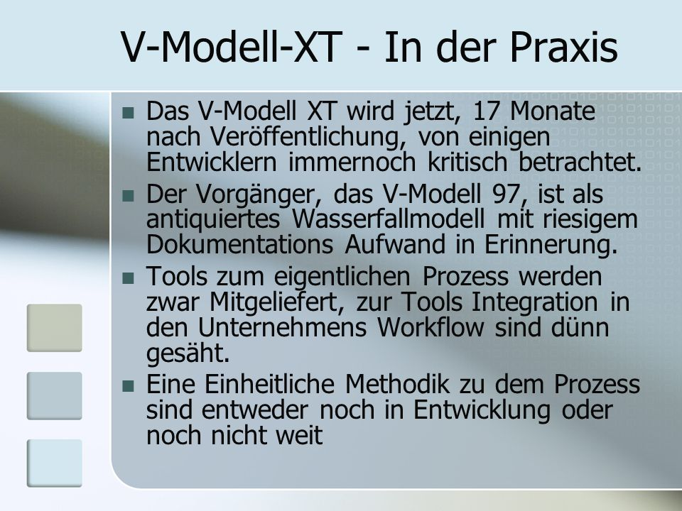V-Modell-XT - In der Praxis