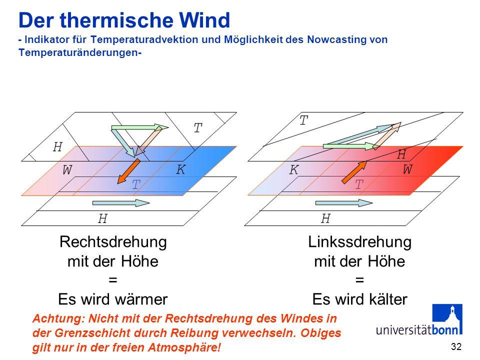 Der thermische Wind - Indikator für Temperaturadvektion und Möglichkeit des Nowcasting von Temperaturänderungen-