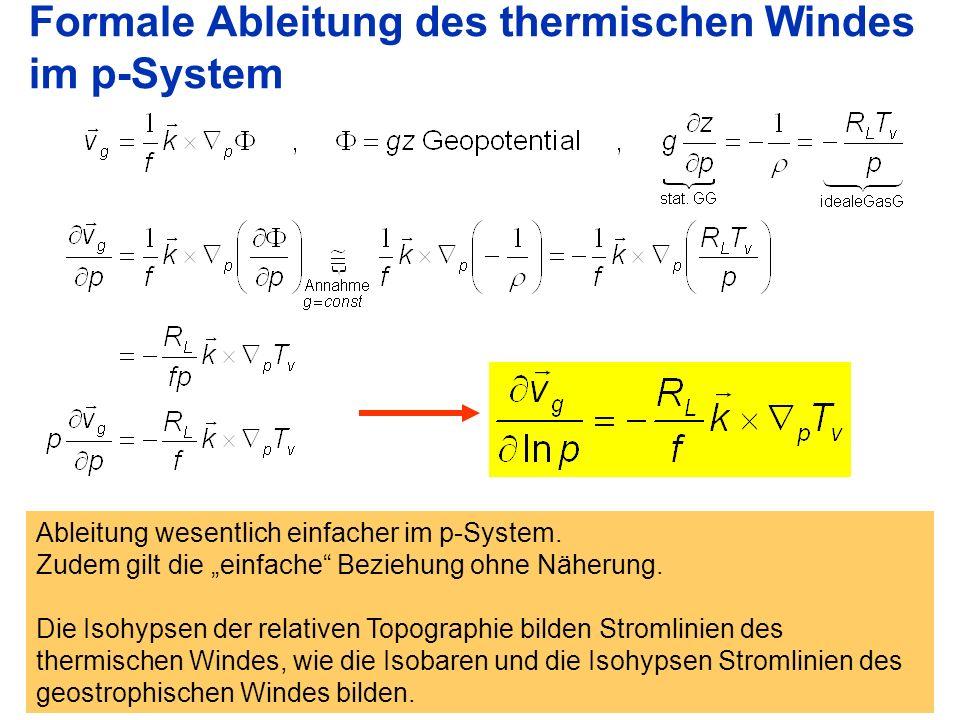 Formale Ableitung des thermischen Windes im p-System