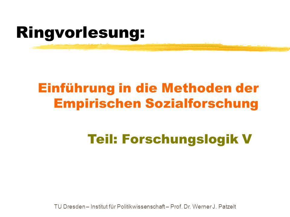 Ringvorlesung: Einführung in die Methoden der Empirischen Sozialforschung. Teil: Forschungslogik V.