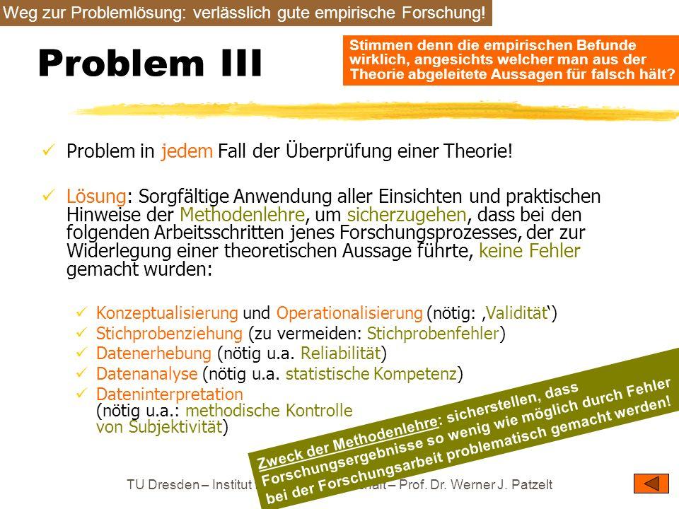 Problem III Problem in jedem Fall der Überprüfung einer Theorie!
