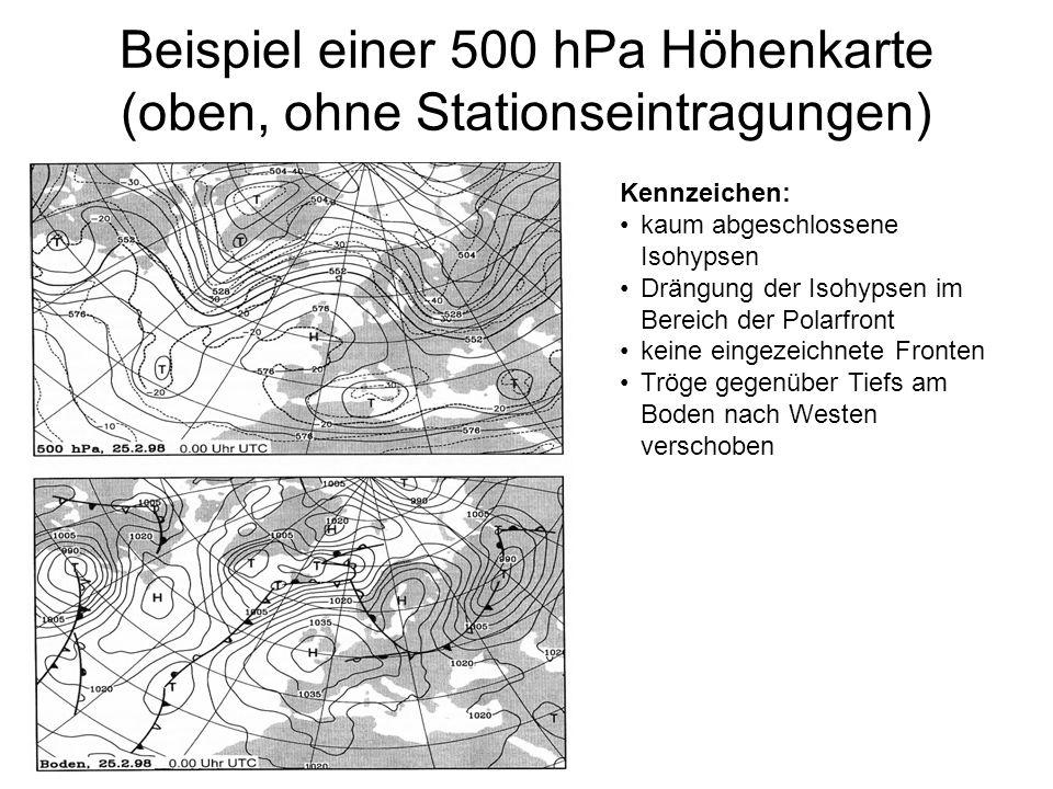Beispiel einer 500 hPa Höhenkarte (oben, ohne Stationseintragungen)