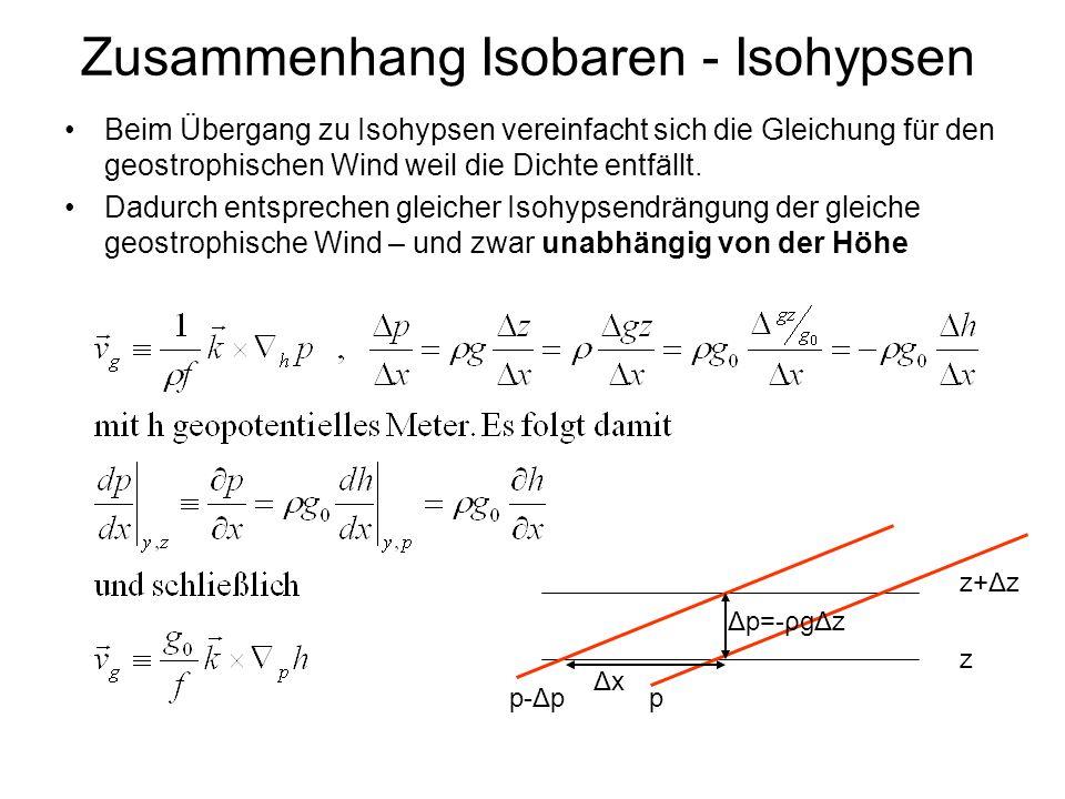 Zusammenhang Isobaren - Isohypsen
