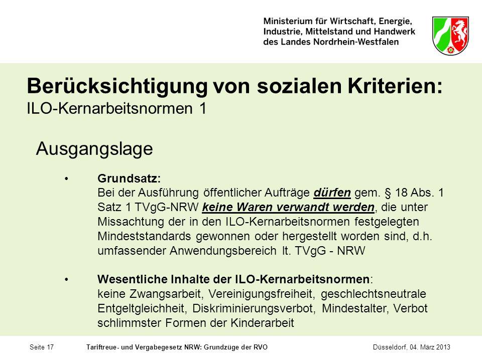 Berücksichtigung von sozialen Kriterien: ILO-Kernarbeitsnormen 1