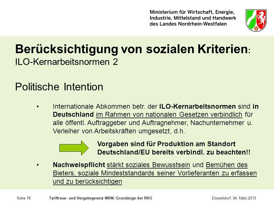 Berücksichtigung von sozialen Kriterien: ILO-Kernarbeitsnormen 2