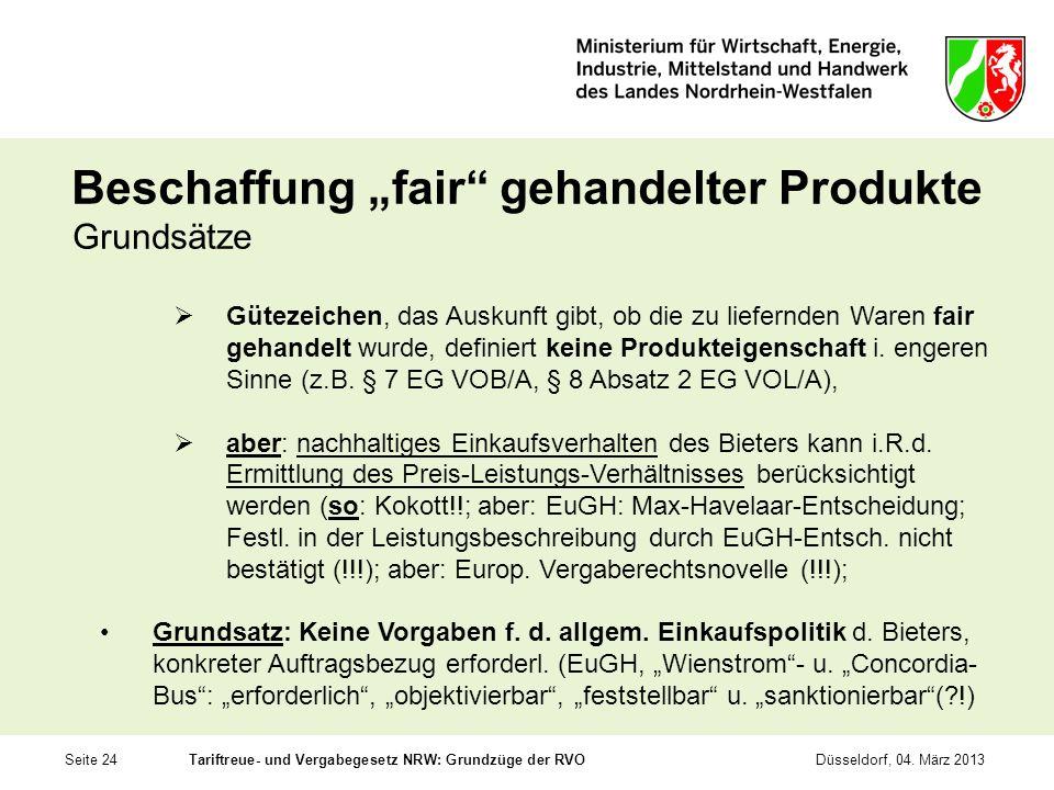 """Beschaffung """"fair gehandelter Produkte"""