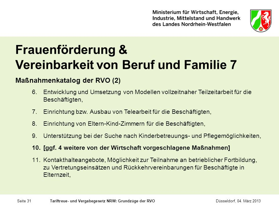 Frauenförderung & Vereinbarkeit von Beruf und Familie 7