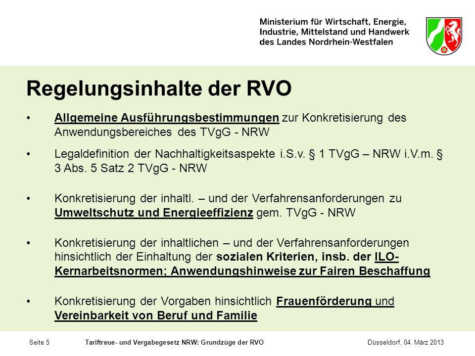 Regelungsinhalte der RVO