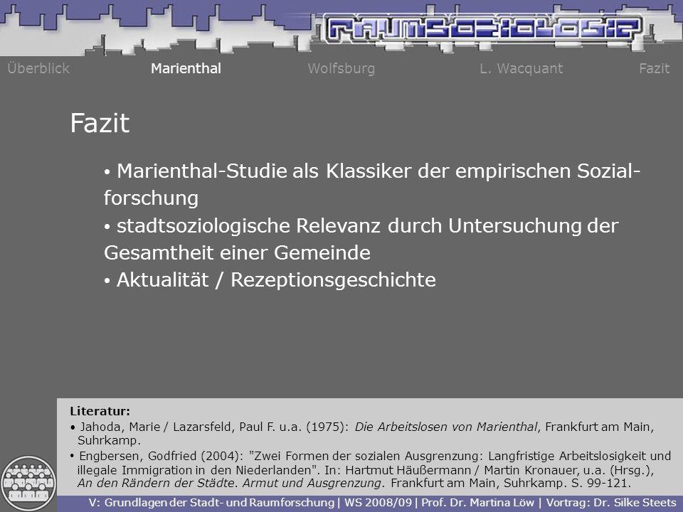 Fazit Marienthal-Studie als Klassiker der empirischen Sozial-