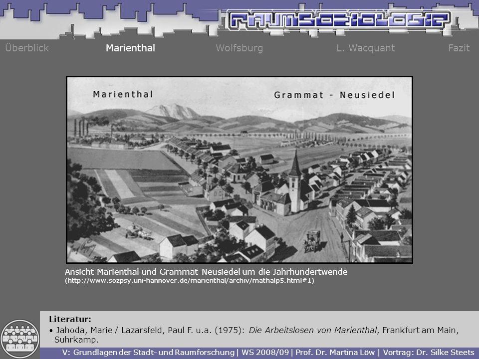 Überblick Marienthal Wolfsburg L. Wacquant Fazit