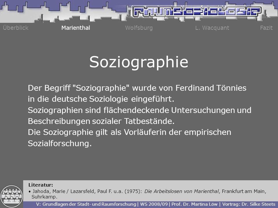 Soziographie Der Begriff Soziographie wurde von Ferdinand Tönnies