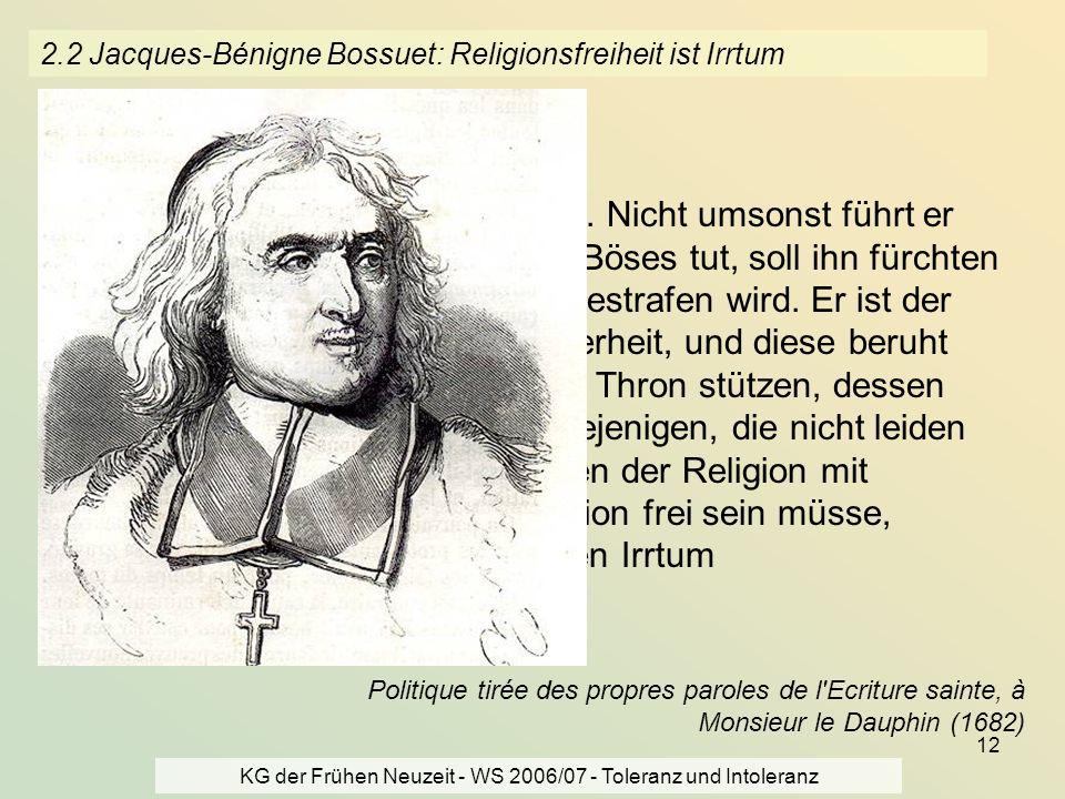 2.2 Jacques-Bénigne Bossuet: Religionsfreiheit ist Irrtum