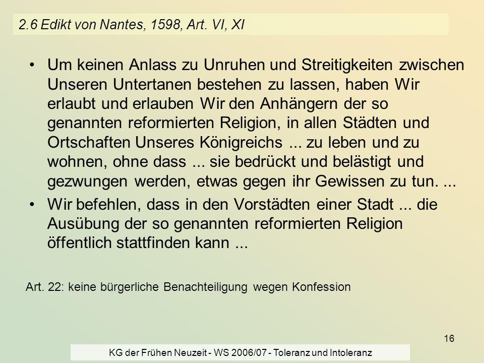 2.6 Edikt von Nantes, 1598, Art. VI, XI