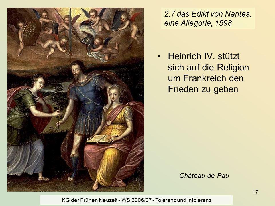 2.7 das Edikt von Nantes, eine Allegorie, 1598