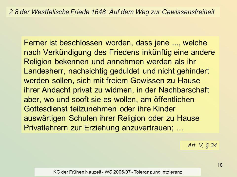 2.8 der Westfälische Friede 1648: Auf dem Weg zur Gewissensfreiheit