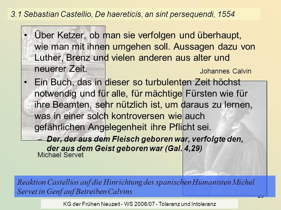 3.1 Sebastian Castellio, De haereticis, an sint persequendi, 1554