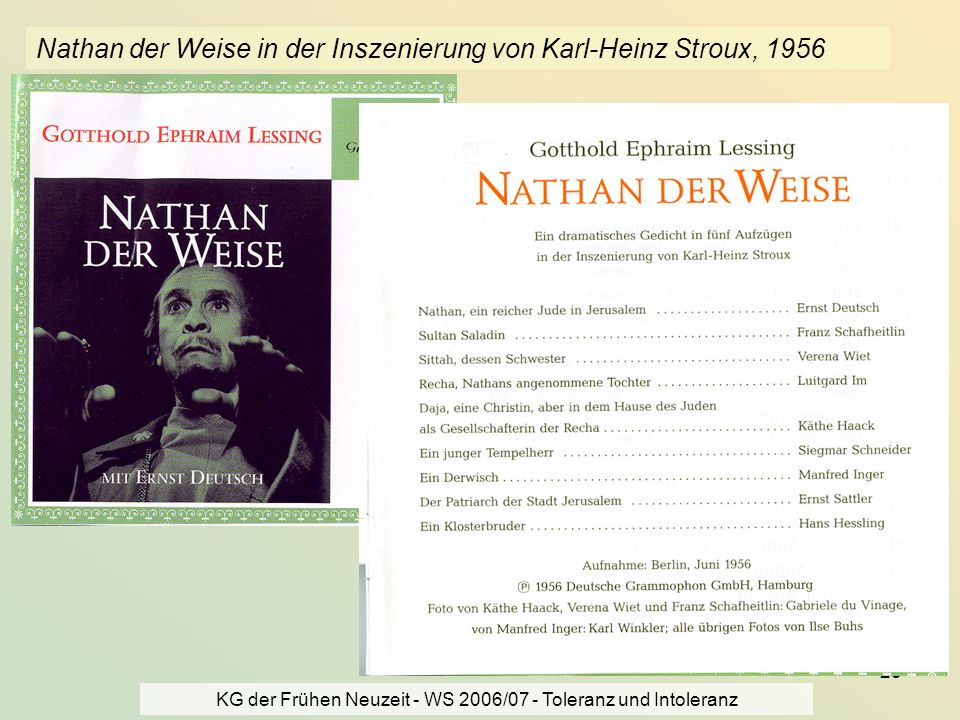 Nathan der Weise in der Inszenierung von Karl-Heinz Stroux, 1956