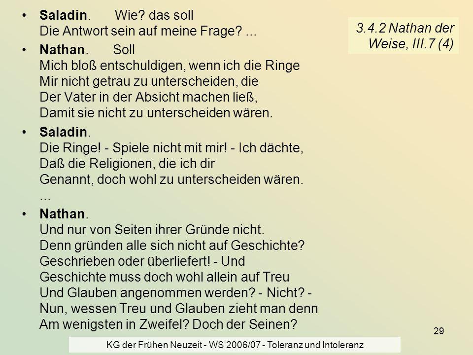 KG der Frühen Neuzeit - WS 2006/07 - Toleranz und Intoleranz