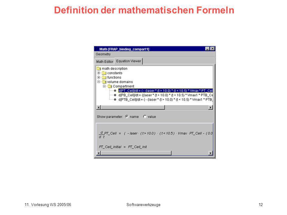 Definition der mathematischen Formeln