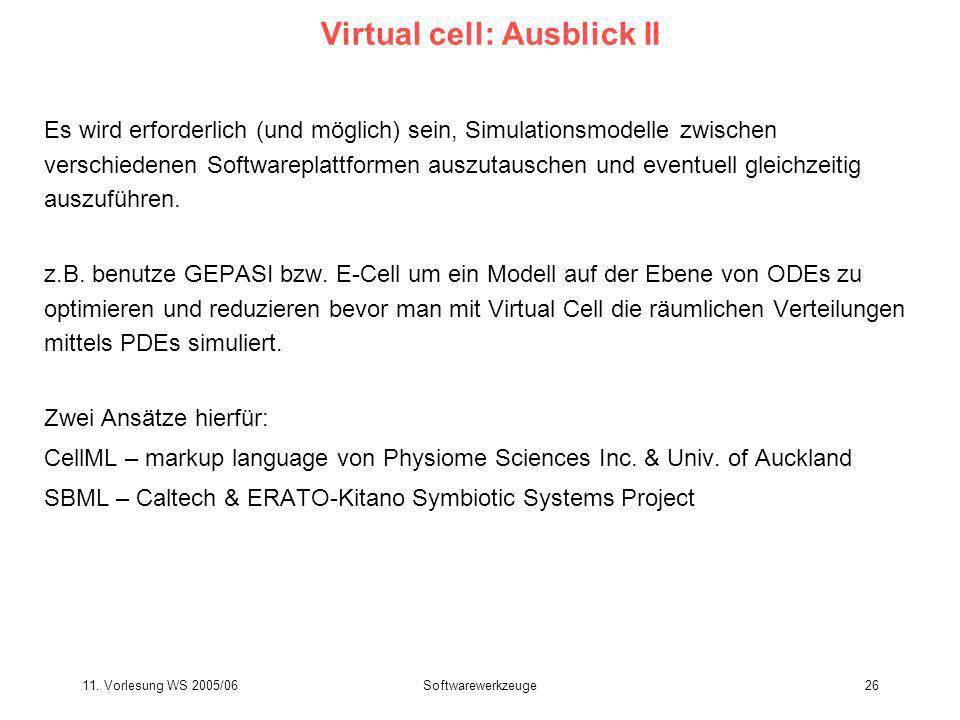 Virtual cell: Ausblick II