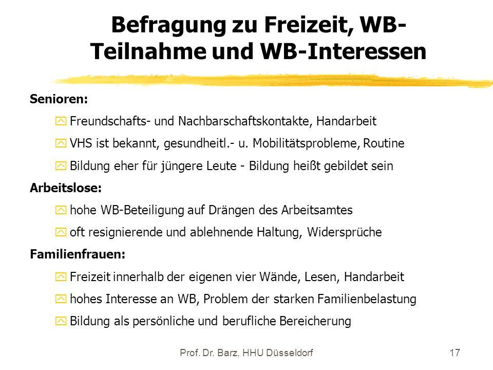 Befragung zu Freizeit, WB-Teilnahme und WB-Interessen