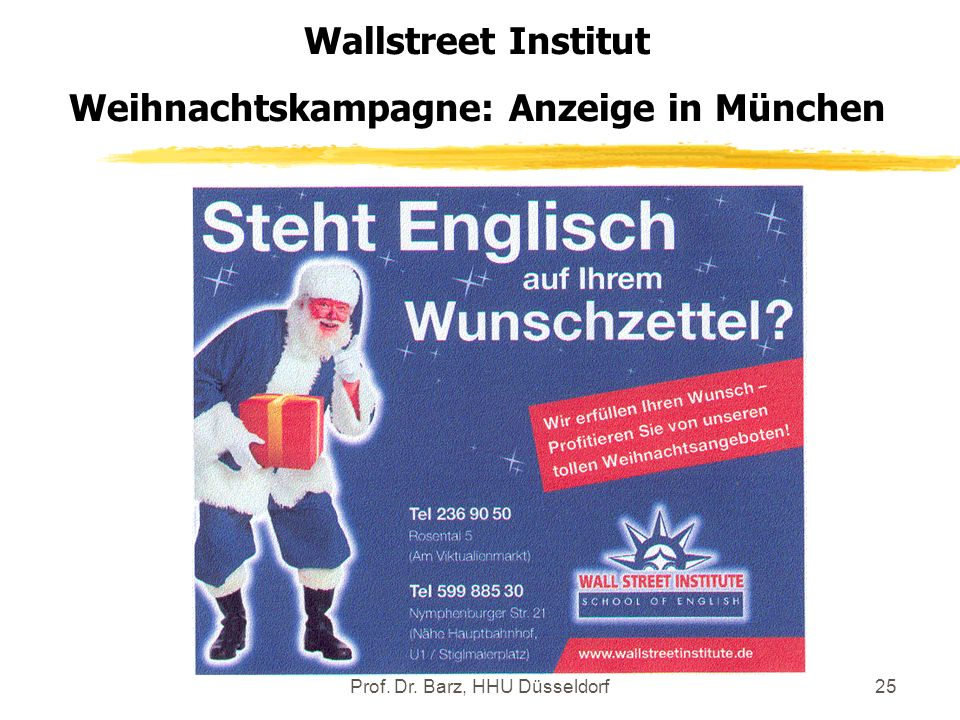 Weihnachtskampagne: Anzeige in München